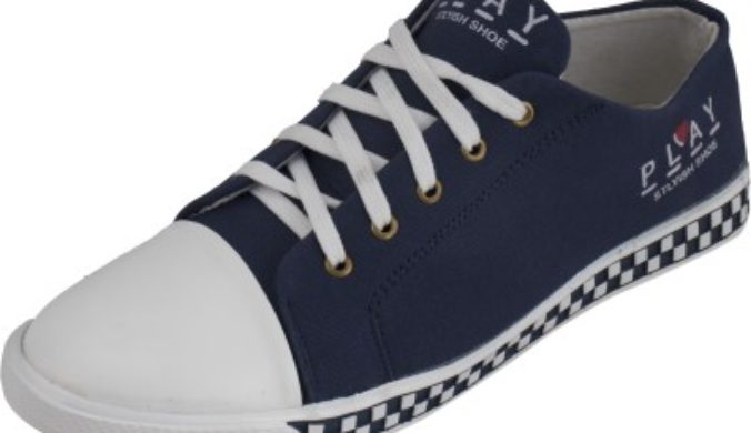 WeBe Casual Canvas Sneakers Casuals For Men (White, Blue) 3