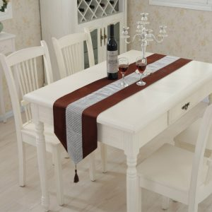 Modern Table Runner Flannel Diamond Marriage Tassel Patchwork Chirstmas Wedding Banquet Party Event Decoration Home Textile 1