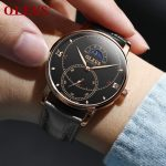 OLEVS Creative Men Watch Water Resistant Mens Watches Black Leather Wrist Watch For Man Gift Famous Male Clock Moon Phase reloj 4