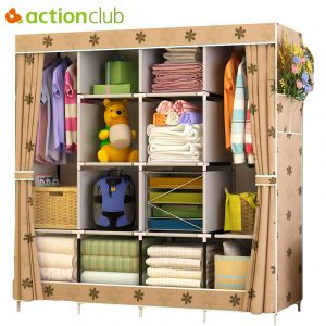 Actionclub Multi-function Wardrobe Fabric Folding Cloth Storage Cabinet DIY Assembly Easy Install Reinforcement Wardrobe Closet 1
