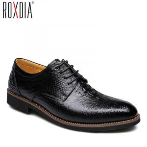 ROXDIA Cow split Leather for men dress shoes formal business work male men's  casual oxford flats RXM065 size 39-44 1