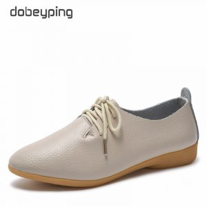 dobeyping 2018 New Women Shoes Genuine Leather Women's Shoe Lace-Up Female Flats Pointed Toe Woman Oxfords Large Size 35-44 1