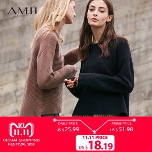 Amii's Minimalist O-Neck Knitted Sweater Women Autumn 2018 Causal Streamers Solid Long Sleeve Female Pullover Sweaters 1