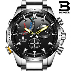 Genuine Luxury Switzerland BINGER Brand Men automatic mechanical Luminous waterproof full steel belt male fashion watch 1
