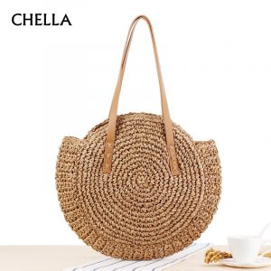 Women Handbag Summer Beach Straw Bag INS Popular Female Circle Holiday Shoulder Bags Lady Large Casual Shopping Woven Bag SS0408 1