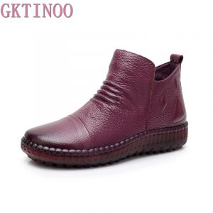 GKTINOO Fashion Autumn Shoe Flat Boots Genuine Leather Ankle Shoes Vintage Casual Shoes Brand Design Retro Handmade Women Boot 1