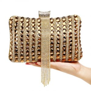 Rhinestones Tassel Women Evening Bags Fashion Luxurious Diamonds Chain Shoulder Beaded Mixed Color Crystal Wedding Clutches 1