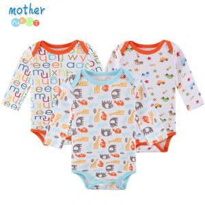Mother Nest 3Pcs/Lot Baby Rompers Long Sleeve 100% Cotton Baby Clothes Babies Jumpsuits Clothing Sets Comfortable Baby Rompers 1