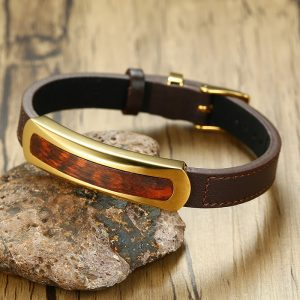 "Rare Exotic Snakewood Tag Leather Bracelet in Brown for Men Letterwood Male Gents Leopardwood Wood Jewelry Adjustable 7-8.8"" 1"