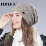 FURTALK Autumn Winter Wool Knit Slouchy Hat for Women and Girls Cross Caps Women Wool Knit Beanie Braided Hats Stocking Hat 2