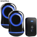 SMATRUL Waterproof Wireless Doorbell EU Plug home Cordless Door Bell ring chime 200M range 1 2 button 2 receiver LED light black 2