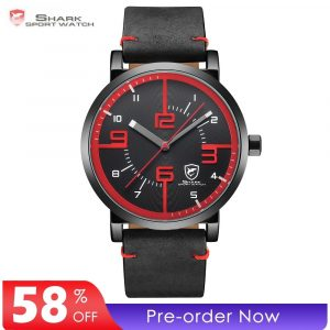 Bahamas Saw SHARK Sport Watch Black Red Men Quartz Simple Long Second Hand Crazy Horse Leather Band Male Designer Watches /SH567 1