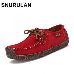 SNURULAN New Autumn Winter Shoes Woman Cow Suede Leather Flats Women Shoes Lace-Up Women's Loafers Moccasins Female Footwear 1