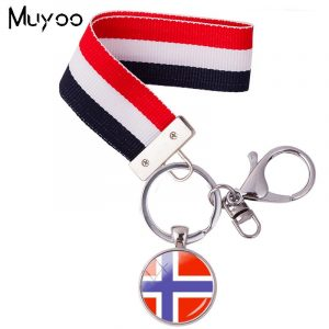 2018 New Design Northern Europe National Flag Wristlet Key Ring Norway Flag Ribbon Keyring Glass Cabochon Keychain For Women 1
