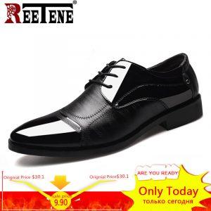 REETENE 2018 Formal Shoes Men Pointed Toe Men Dress Shoes Leather Men Oxford Formal Shoes For Men Fashion Dress Footwear 38-48 1