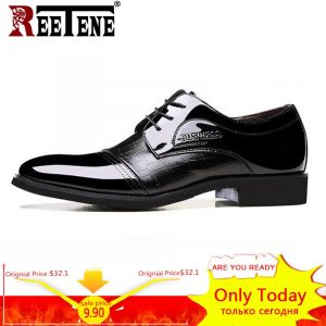 REETENE New Leather Oxford Business Men Shoes Lace Up Formal Shoes Men Shoes Pointed Toe Men Dress Shoes For Wedding Size 38-48 1