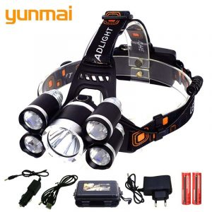 yunmai 5000 Lumens headlamp 5*LED XML T6 Headlight 4mode Headlamp Rechargeable Head Lamp flashlight+2*18650 Battery+AC/ Charger 1