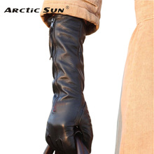 2014 winter women black Genuine leather gloves long style sheepskin gloves warm elbow zipper leather gloves L031NQ 1