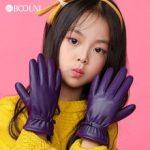 BOOUNI Genuine Leather Children Gloves Autumn Winter Warm Velvet Lined Kids Girls Sheepskin Gloves Five Fingers NW103 3