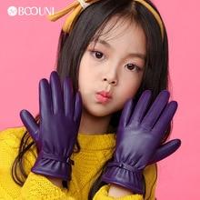 BOOUNI Genuine Leather Children Gloves Autumn Winter Warm Velvet Lined Kids Girls Sheepskin Gloves Five Fingers NW103 1