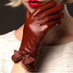 Genuine Sheepskin Gloves 2016 Fashion Wrist Lace Bow Solid Women Leather Glove Thermal Winter Driving Keep Warm Free Shipping 5