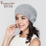 Charles Perra Women Knitted Hats Winter Thicken Double Layer Elegant Casual Wool Blend Women's Hat Thermal Female Beanies D303 1