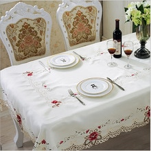 Europe Style Wedding Tablecloth Embroidered Floral Lace Edge Dustproof Covers for Table Home Party Table Cloths High Quality 1